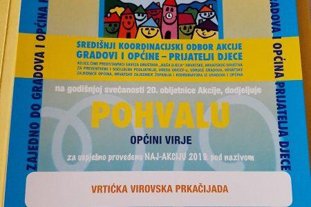 Općina Virje dobila Pohvalu Saveza društava Naša djeca za Naj-akciju 2019. – našu Vrtićku virovsku prkačijadu